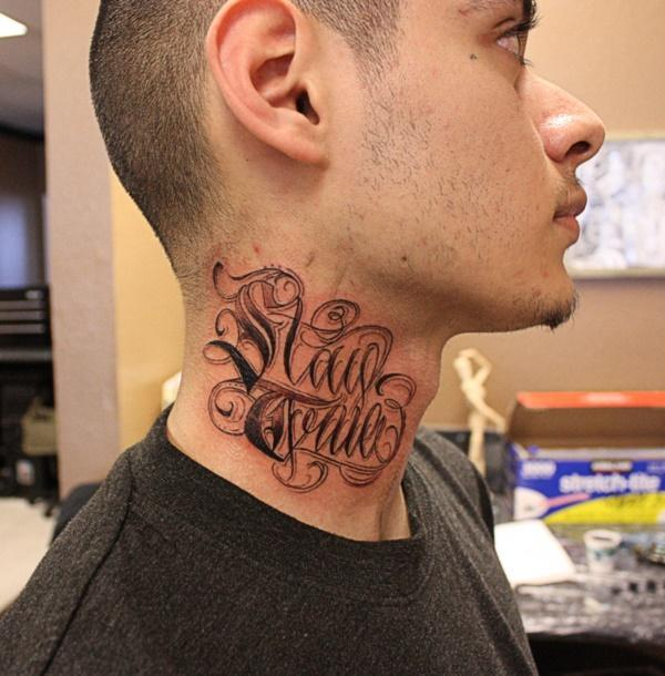 amazing tattoos on neck images photos Stay True Words Tattoo On Man Side Neck 76 Photos of Beautiful Tattoos On Neck