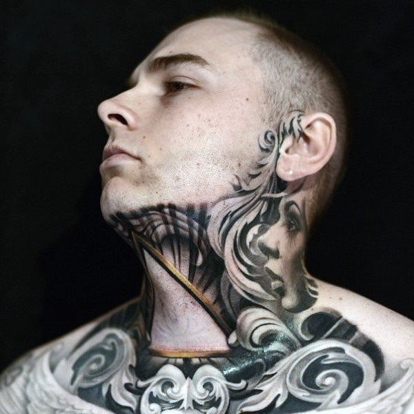 amazing tattoos on neck images photos male grey throat tattoo 76 Photos of Beautiful Tattoos On Neck